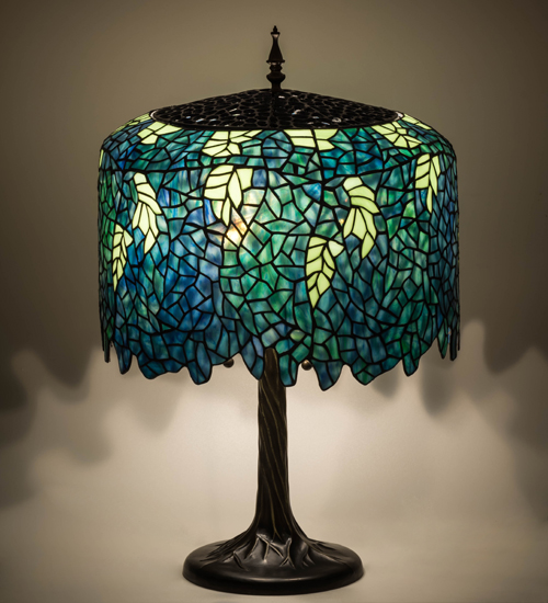 Cascading Blossoms Table Lamp Stained Glass Tiffany Style